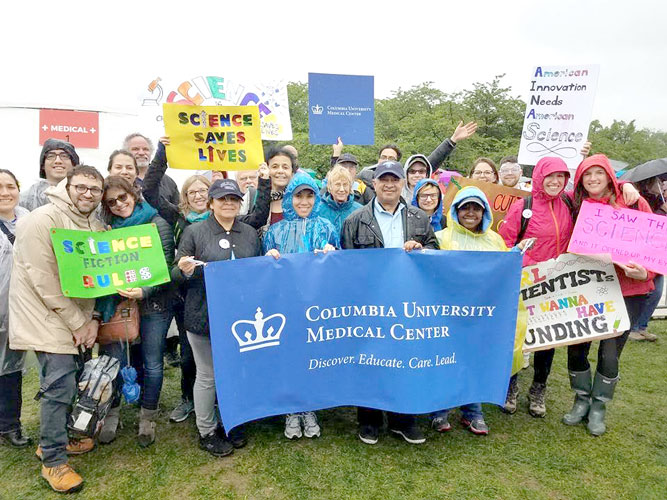 Local researchers met to march.