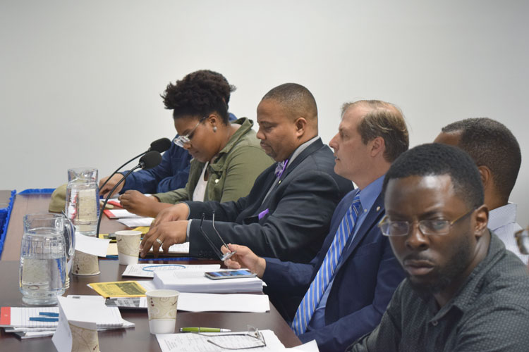 The roundtable was co-hosted by State Senator Jesse Hamilton (center).