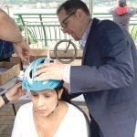 Nearly 700 bike helmets were distributed.