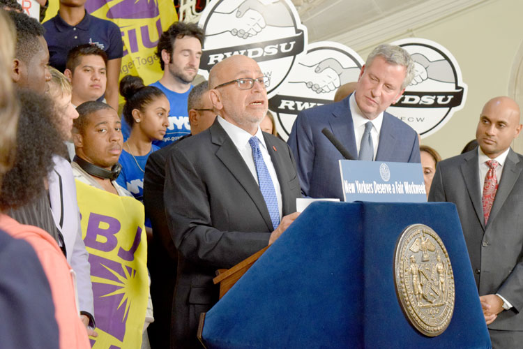"""New York City is shining the light,"" said RWDSU President Stuart Appelbaum."