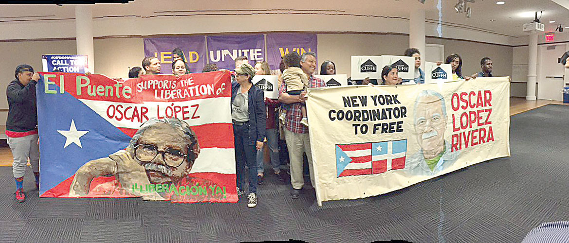 Supporters gathered at 32BJ's offices.