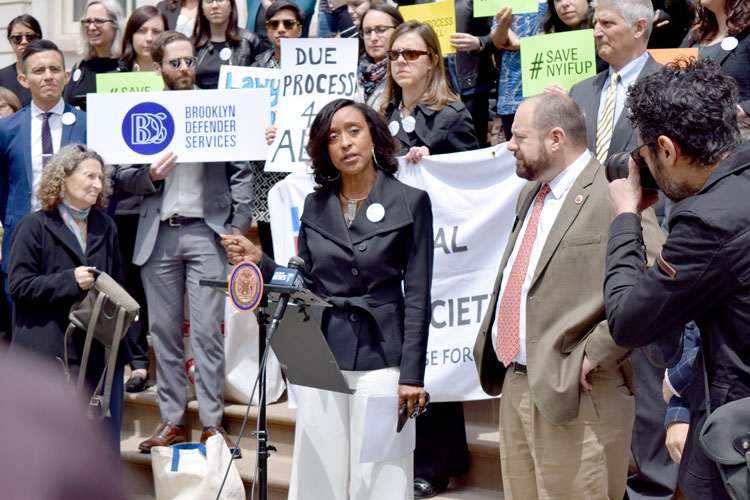 """""""NYIFUP attorneys have represented…hope,"""" said Adriene Holder of Legal Aid Society."""