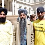 """I invested everything for this medallion,"" said Ravinder Singh (center) with fellow cabbies."