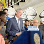 """""""It's time [to] stand up for working people,"""" said Mayor Bill de Blasio."""