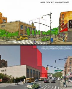 In this flyer, the image above of the proposed site (with dotted line) was released by NYPL; local resident Dave Thom, a member of the Save Inwood Library group, created and added the image below to reflect the building of 17 stories that has been discussed at workshop meetings.