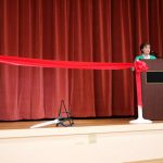 Community Relations Director Betty Lehmann offers remarks.