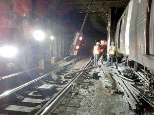 A southbound A train derailedon Tuesdaymorning.
