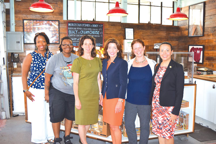 Lt. Governor Kathy Hochul (center) visited the Hot Bread Kitchen.