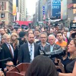 Council Speaker Melissa Mark-Viverito (far right) speaks out.