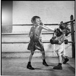 Two boys boxing at PAL. Photo: MCNY Archives; 1946