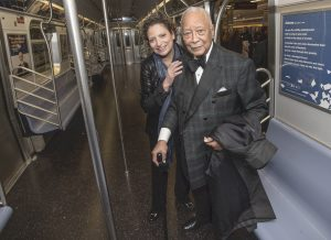 "Former Mayor David N. Dinkins, seen here with Veronique ""Ronnie"" Hakim, President of MTA New York City Transit, approves of the plan."