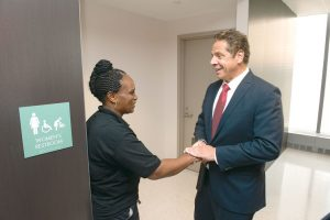 Governor Andrew Cuomo spoke with workers.