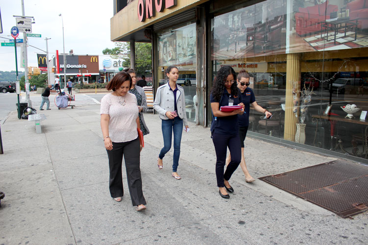 The group canvassed in West Harlem.