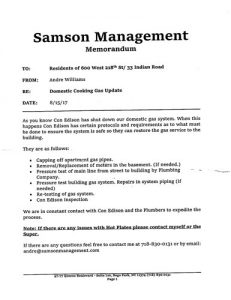 The notice given to residents by the management company.