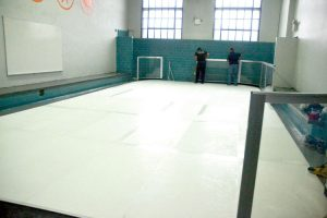 A synthetic ice rink was tested in October 2016.