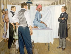 Illustration of Dr. J. Marion Sims with Anarcha by Robert Thom. Source: Southern Illinois University School of Medicine, Pearson Museum.