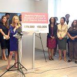 Eva Moskowitz (at podium) has often been critical of the de Blasio administration.