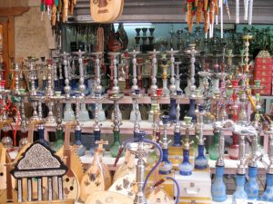 Hookahs on display.