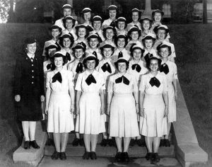 WAVE Yeoman Class, Naval Training Center, Women's Reserve, The Bronx, New York (Hunter College). Graduation photograph, circa summer 1943.