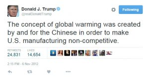 "The President has called climate change a ""hoax."""