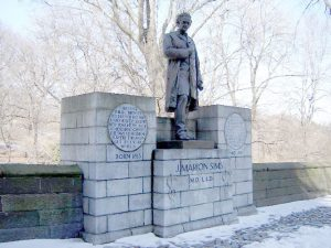 The statue of Dr. James Marion Sims was placed uptown in 1934.