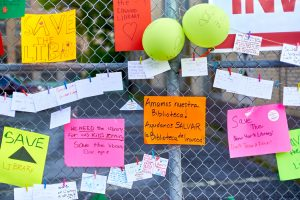 Messages were placed along the fence.