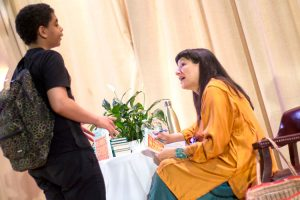 Celebrated author Sandra Cisneros meets with local students.