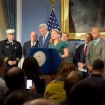 """""""The Puerto Rico that we knew two days ago is not the Puerto Rico we see today,"""" said Speaker Melissa Mark-Viverito (center)."""