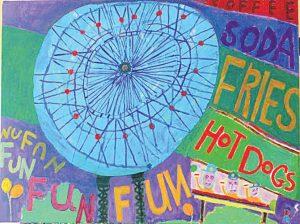 "Luna Park Fun. Acrylic on canvas. 30"" x 40"", 2016."