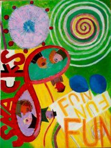 """Luna Park Snacks. Acrylic on canvas. 30""""x40"""", 2016."""