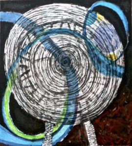 "Luna's Last Ride. Acrylic on canvas. 47"" x 51"", 2016."