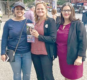 Diana Ayala, with Speaker Melissa Mark-Viverito, campaigns on Primary Day.