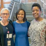 """We can help entrepreneurs take those first steps,"" said Anne Lehmann, Interim Director of SIBL, with winners Alexandria Carroll (center) and Noelle Minter."
