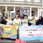 Protestors rallied at City Hall.
