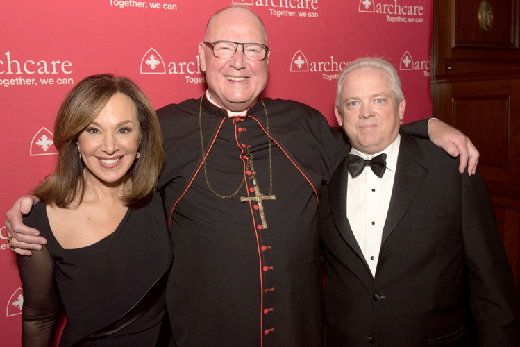 From left: Rosanna Scotto, co-host of FOX5's Good Day New York, Cardinal Timothy Dolan, and Scott LaRue, ArchCare President and CEO, attend ArchCare's annual fundraising gala.