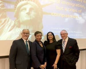 From left to right: Dr. Luis H. Zayas, Dean, Steve Hicks School of Social Work University of Texas; Rosa Bramble, LCSW-R; Touro MSW Student Leidy Deleon; and Touro Dean Dr. Steven Huberman.