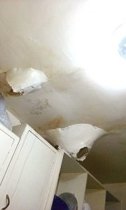 There is extensive ceiling damage in Ortiz's apartment.