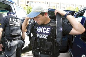 Immigration and Customs Enforcement (ICE) agents prep.