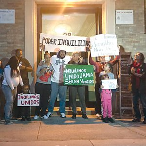 Tenants protested on Arden Street this past week.