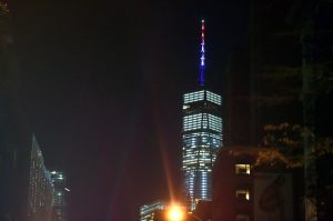 Cuomo ordered the spire of One World Trade Center illuminated in red, white, and blue light Tuesday night.