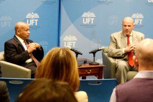 Assembly Speaker Carl Heastie (left) and UFT President Michael Mulgrew.