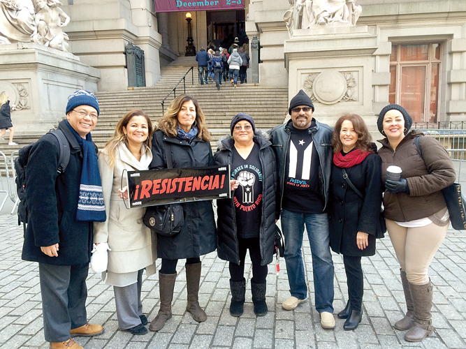 Advocates rallied at the U.S. Customs House.