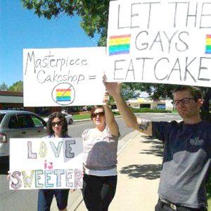 Advocates in protest.