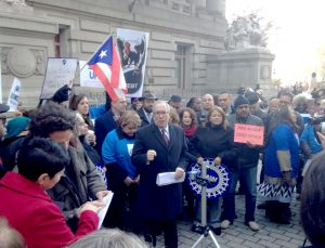 """What has happened in Puerto Rico is nothing short of tragedy,"" said City Comptroller Scott Stringer (center)."