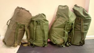 Eco Kit duffles ready for shipping. Each duffle can pack 2 large Eco Kits or 5 Mini Eco Kits.