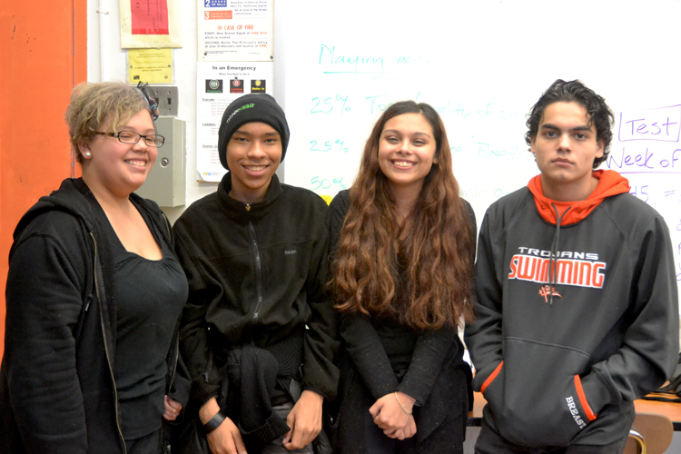 From left, participating students: Ana Made, Alex Florian, Michelle Romero, and Dylan Núñez.
