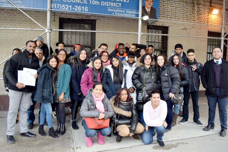 The group outside of Councilmember Ydanis Rodríguez's office.