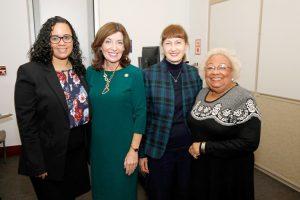 Hochul met with (from left) Assemblymember Carmen De La Rosa, Nursing School Dean Bobbie Berkowitz, and Maria Luna.