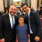 Councilmember (and one-time Speaker candidate) Ydanis Rodríguez with his daughter and Johnson. Photo: Twitter/@ydanis