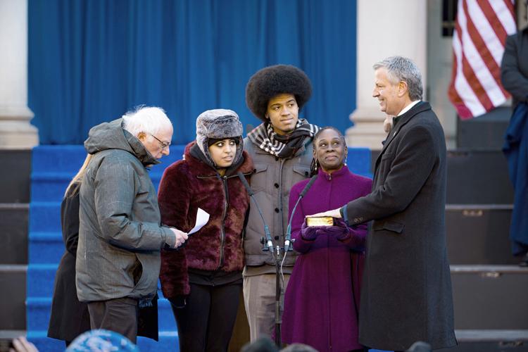 Bill de Blasio is sworn in as mayor for a second term.